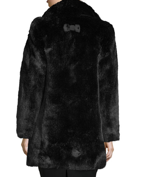 faux-fur two-button coat w/ rhinestones, black