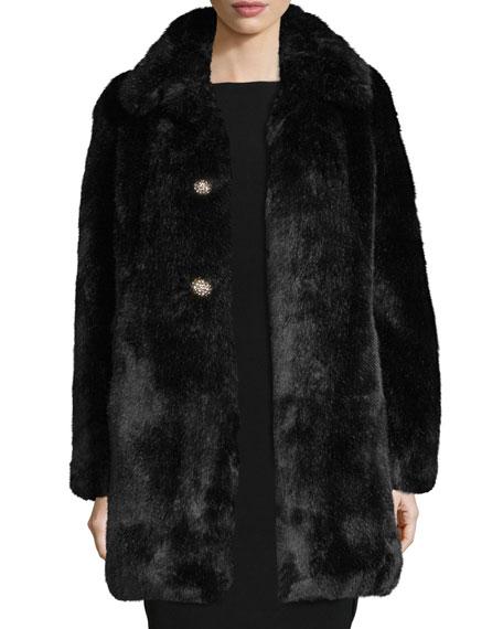 faux-fur two-button coat w/ rhinestones, black