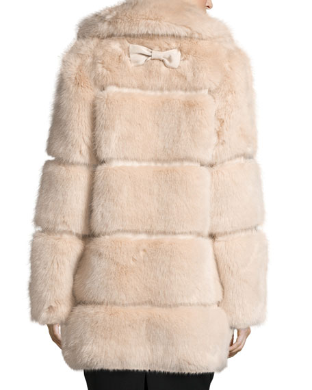 banded faux-fur coat, champagne