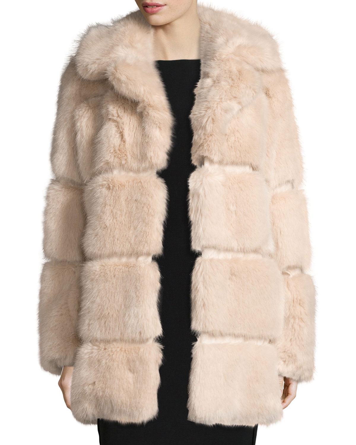 f29a4f7c49f6 kate spade new york banded faux-fur coat, champagne   Neiman Marcus