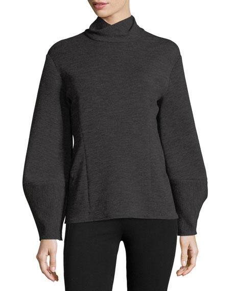 Donna Karan Turtleneck Lantern-Sleeve Top