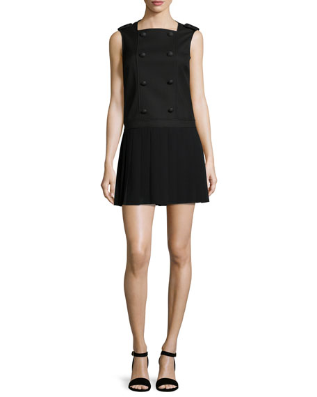 Sleeveless Button-Front Pleated Dress, Black