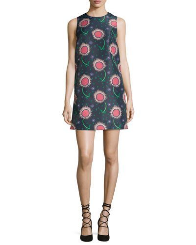 Sleeveless Wishing Flower-Print Shift Dress, Navy