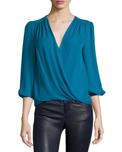 Arleene Crossover 3/4-Sleeve Blouse
