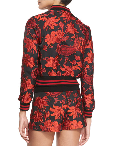 Lonnie Cropped Floral Jacquard Bomber Jacket