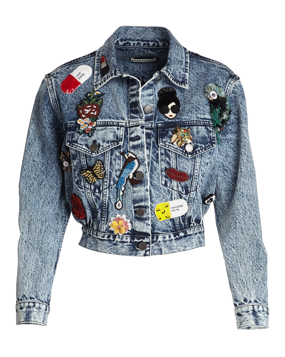 Alice+olivia Woman Embellished Denim Jacket Light Denim Size M Alice & Olivia Clearance Manchester Great Sale Outlet 2018 New Clearance Wholesale Price Limited New eVM4FzLKRE