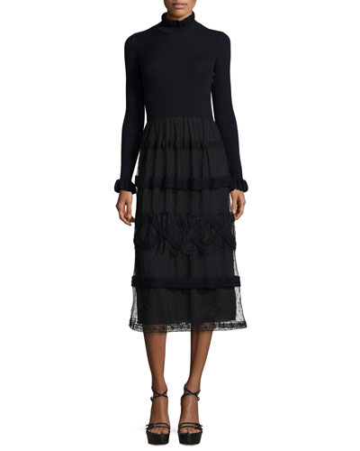 Long-Sleeve Knit Midi Dress w/ Point D'Esprit Skirt, Blue/Black