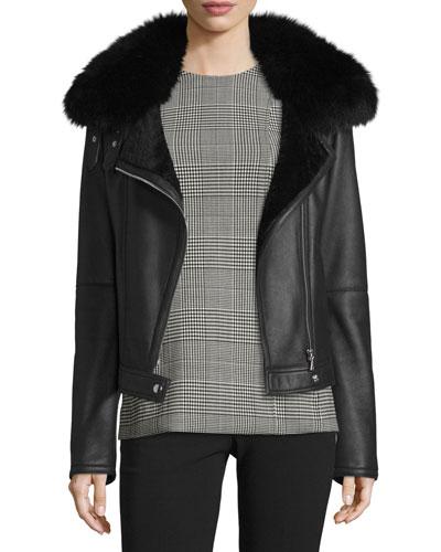 Pomono Merino Silky Leather Shearling-Lined Jacket w/Fox Fur Collar