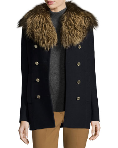 Overby Belmore Fox-Collar Double-Breasted Coat