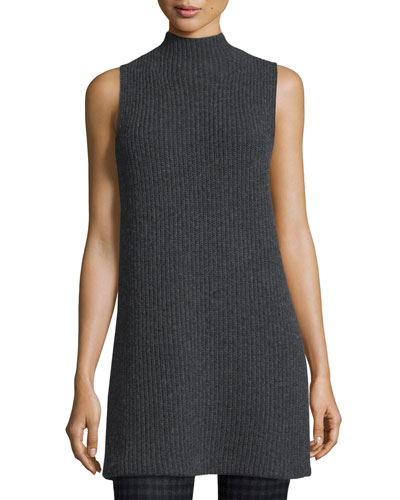 Embree Charmant Mock-Neck Sleeveless Sweater, Dark Charcoal