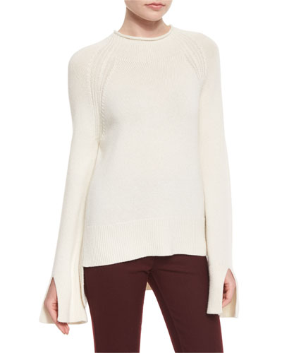 Karinella Cashmere Split-Sleeve Sweater