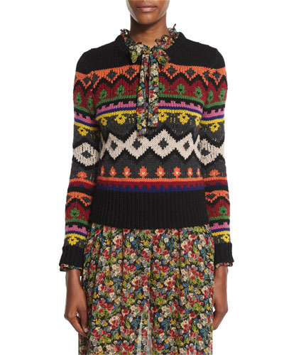 Fair Isle Graphic Intarsia Crewneck Sweater, Black Multi
