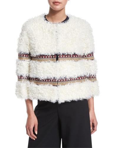 Cropped Kalgan Lamb Fur Jacket w/ Embroidered Trim, Ivory