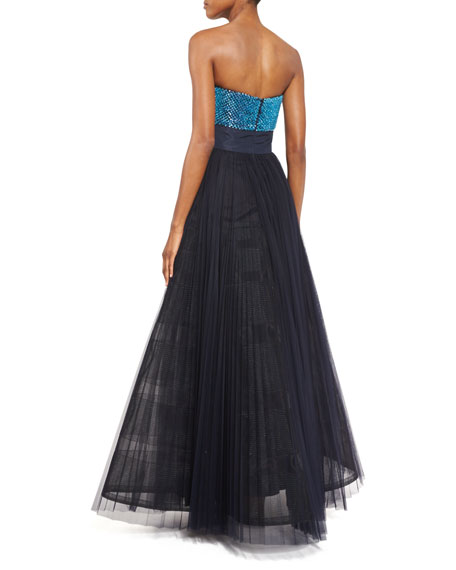 Cube-Embellished Strapless Gown, Midnight