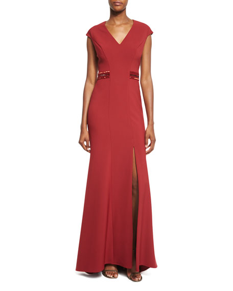 Pamella Roland Beaded-Back Cap-Sleeve Gown, Ruby