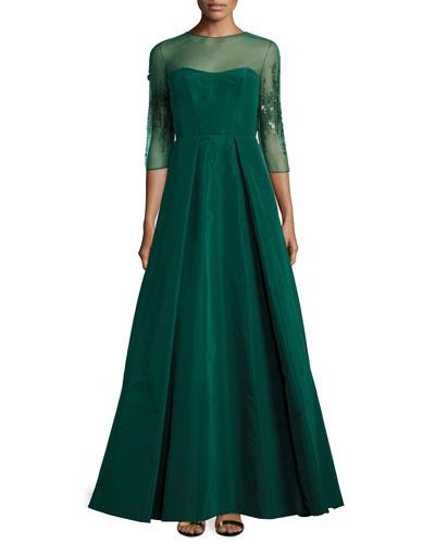 Beaded Long-Sleeve Sheath Dress, Emerald