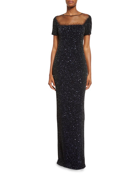 Illusion Sequined Short-Sleeve Gown, Black