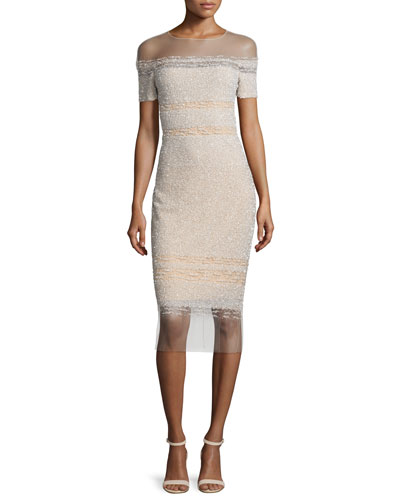 Illusion Off-The-Shoulder Sequined Dress, Champagne