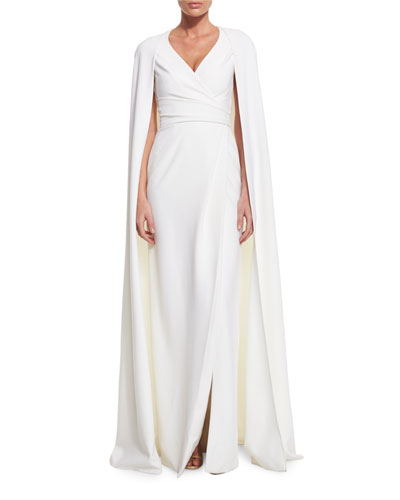 Cape-Sleeve Faux-Wrap Gown, White