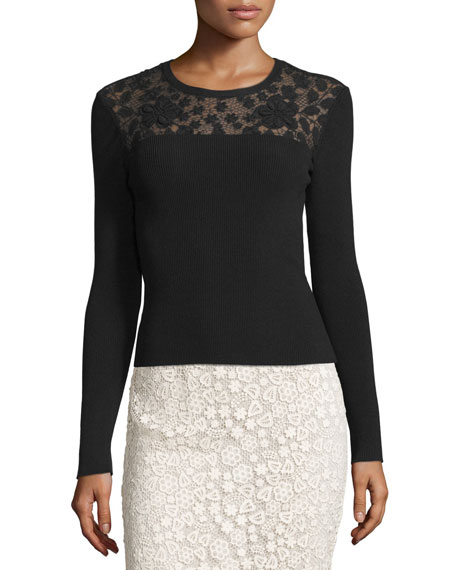 REDValentino Long-Sleeve Ribbed-Knit Top w/ Floral Macrame Yoke,