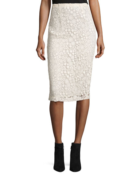 REDValentino High-Rise Floral Macrame Pencil Skirt, Ecru