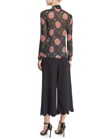 Tie-Neck Wishing Flower-Print Silk Blouse, Navy