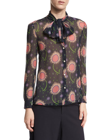 Tie-Neck Wishing Flower-Print Silk Blouse, Navy