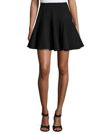 Pleated Fit-&-Flare Skirt, Black