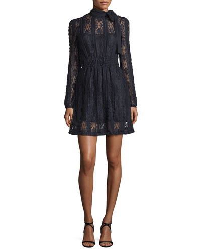 Long-Sleeve Tie-Neck Lace Jersey Dress, Navy