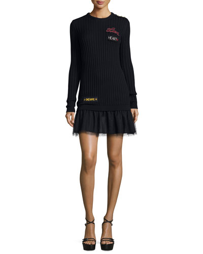 Ribbed Sweater Dress w/ Point D'Esprit Skirt & Word Embroidery, Navy
