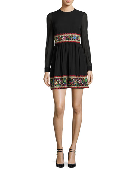 REDValentino Long-Sleeve Stretch-Silk Dress w/ Garden Embroidery,