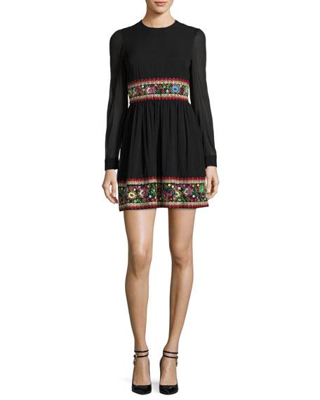 RED Valentino Long-Sleeve Stretch-Silk Dress w/ Garden