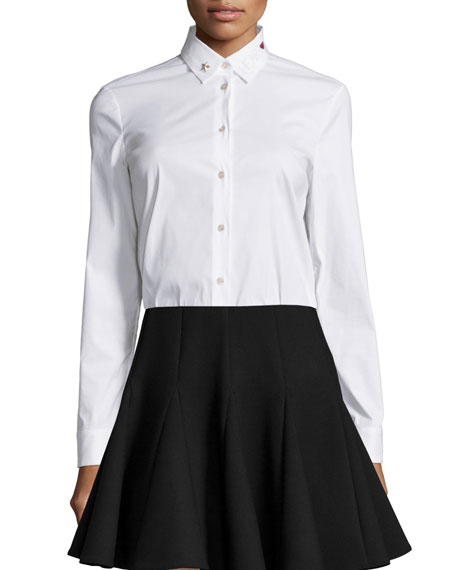 White Blouse Embellished Collar 78