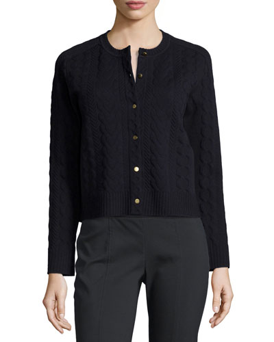 Cable-Knit Cardigan, Medium Navy