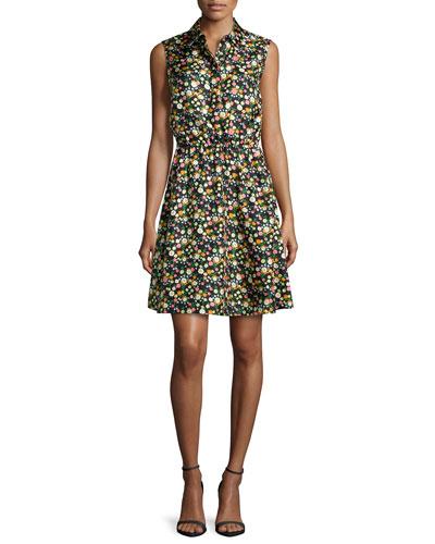 Ryder Floral-Print Silk Shirtdress, Vilette