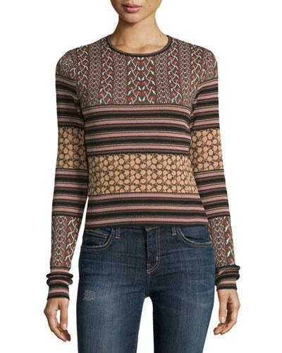 Ryan Mixed-Pattern Lace-Back Sweater