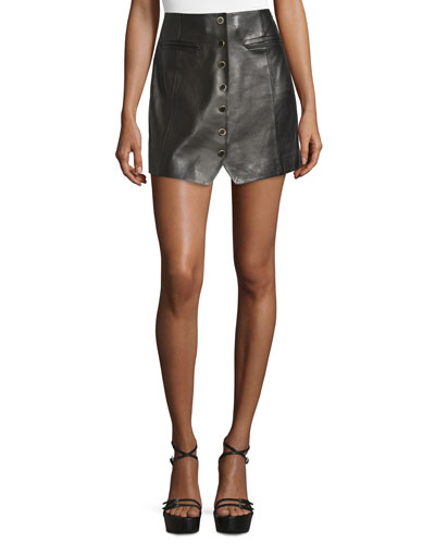 Danae Leather Button-Front Miniskirt