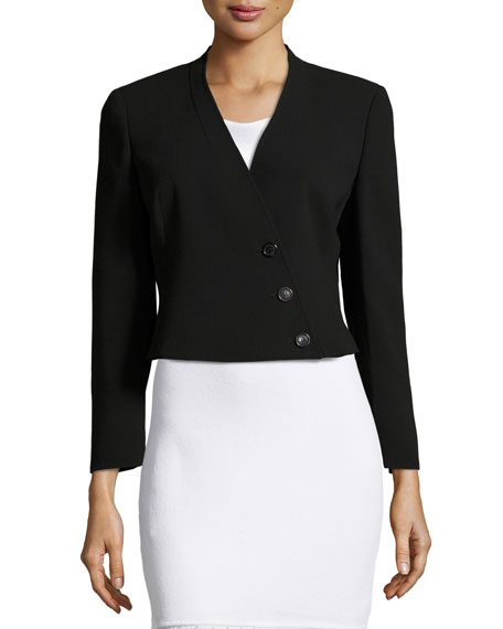 Akris Pezzi Cropped Asymmetric Blazer, Black
