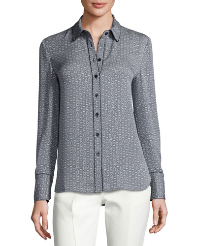 Cherie Printed Silk Button-Front Blouse, New Ivory/Midnight