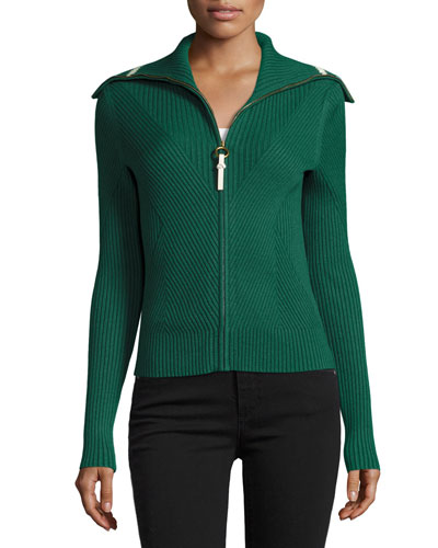 Noland Zip-Front Ribbed Cardigan, Norwood