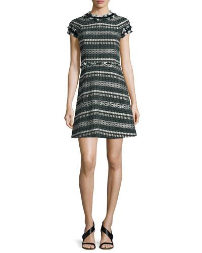 Norfolk Short-Sleeve A-Line Tweed Dress, Horseback Tweed