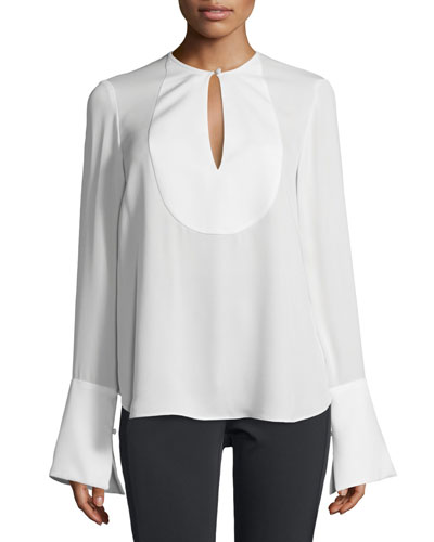 Bahliee Long-Sleeve Keyhole Top, Sandy White