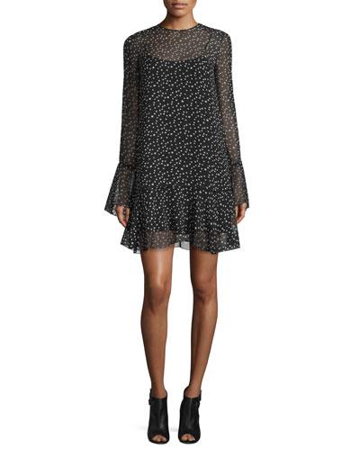 Marah Star-Print Silk Dress, Black/Ivory