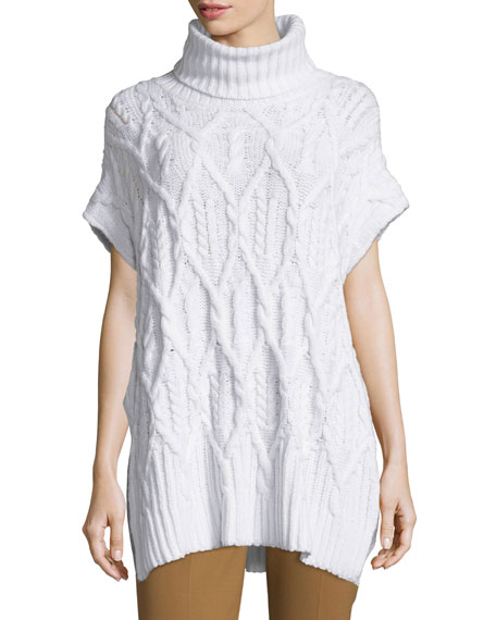 Theory Boseley C Auroral Cable-Knit Short-Sleeve Sweater, Ivory