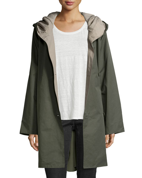 Eileen FisherReversible Hooded Rain Coat, Oregano/Stone