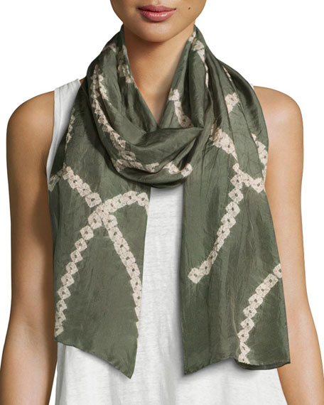 Eileen Fisher Emblems Silk Shibori Chains Scarf, Oregano