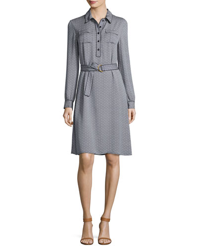 Christelle Belted Printed Shirtdress, New Ivory/Midnight