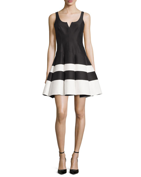 Halston Heritage Sleeveless Striped Mikado Fit-and-Flare Dress,