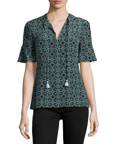 Massey Half-Sleeve Tile-Print Tasseled Silk Top, Black Pompidou