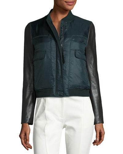 Marly Leather-Sleeve Bomber Puffer Jacket, English Green